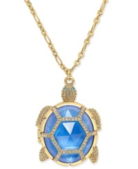 Kate Spade New York Gold Tone Glass Stone Turtle Locket Pendant Necklace