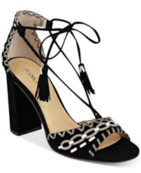 Ivanka Trump Karita Lace Up Block Heel Sandals Women's Shoes Black Suede