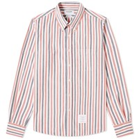 Thom Browne University Stripe Button Down Flannel Shirt Red