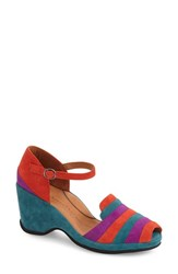 Women's L'amour Des Pieds 'Ovid' Peep Toe Wedge Sandal Red Purple Turqoise Suede