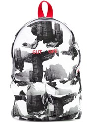 Off White Building Print Backpack White