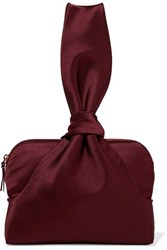 The Row Wristlet Knotted Satin Clutch Burgundy