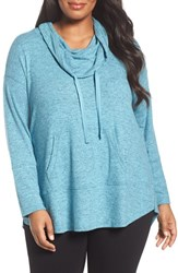 Sejour Plus Size Women's Drawstring Cowl Neck Pullover Teal Peacock