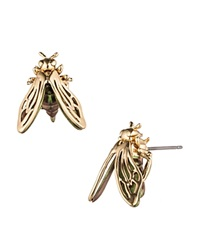 Alexis Bittar Lucite Bumble Bee Stud Earrings Gold Iridescent