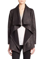 The Kooples Draped Faux Leather Jacket Black