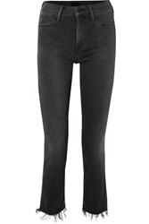 Mother The Rascal Ankle Snippet Distressed Mid Rise Skinny Jeans Black