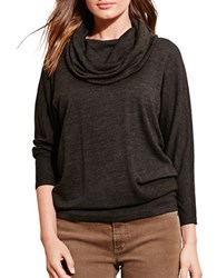 Lauren Ralph Lauren Cowlneck Three Quarter Sleeve Jersey Top Dark Grey Heather