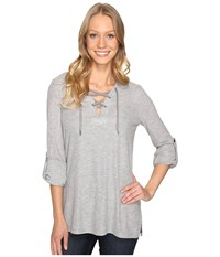 Michael Michael Kors Waffle Lace Up Tunic Pearl Heather Women's Blouse Gray