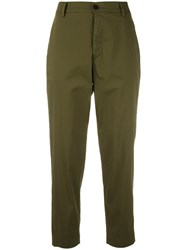 Barena Cropped Trousers Women Cotton Nylon Spandex Elastane 42 Green