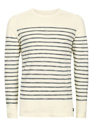 Selected Brown Homme Off White Stripe Long Sleeve T Shirt