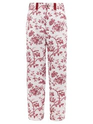 Bode Toile Print Satin Trousers Burgundy Multi