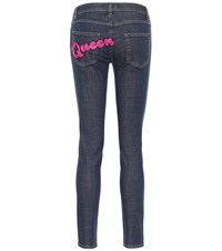 Dolce And Gabbana Appliqued Skinny Jeans Blue