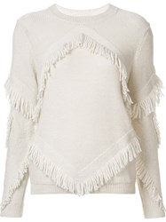 Tanya Taylor 'Inlay Fringe Chacha' Sweater White