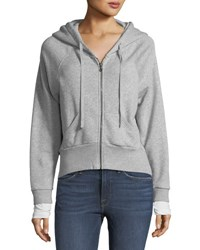 Nation Ltd. Layered Cuff Zip Front Hoodie Gray