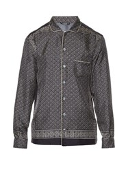 Dolce And Gabbana Tile Print Silk Shirt Grey Multi