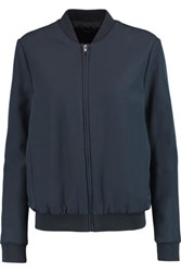 Iris And Ink Crepe Bomber Jacket Navy