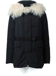 Moncler Lamb Fur Collar Padded Jacket Black