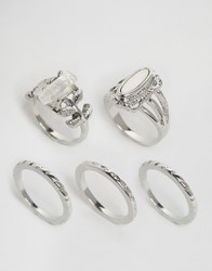 Asos Pack Of 5 Summer Time Stone Rings Rhodium Silver
