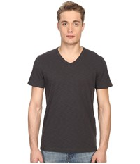 Vince Short Sleeve Slub V Neck Shirt Sphere Men's Short Sleeve Pullover Black