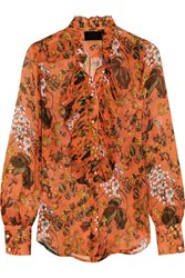 J.Crew Collection Ruffled Printed Silk Chiffon Blouse Orange