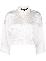 Sally Lapointe Cropped Wrinkled Effect Shirt White