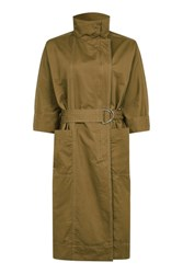 Topshop '80S Funnel Neck Trench Coat Tan