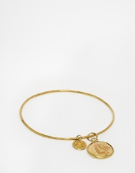 Mirabelle Hammered Brass Bangle With Elephant Horse Coin Charm