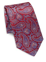 Saks Fifth Avenue Paisley Silk Tie Blue
