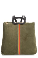 Clare V. Marcelle Suede Backpack Green Army Suede Stripe