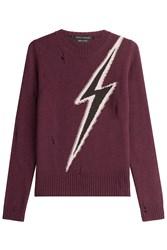 Marc Jacobs Distressed Wool Pullover Red