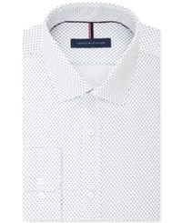 Tommy Hilfiger Men's Slim Fit White Print Dress Shirt