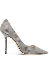 Jimmy Choo Love 100 Glittered Checked Leather Pumps Silver