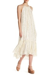 Tibi Metallic Fil Coupe Hi Lo Dress White