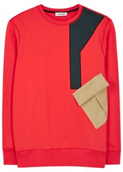 Tim Coppens Red Contrast Cotton Sweatshirt Coral