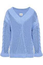 Charli Woman Open And Cable Knit Sweater Light Blue