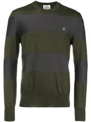 Vivienne Westwood Striped Crew Neck Sweater Green