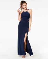 City Triangles Juniors' Side Slit Illusion Column Gown Created For Macy's Navy
