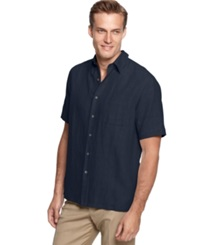 Tasso Elba Island Big And Tall Silk Blend Crosshatch Solid Shirt Crisp Navy