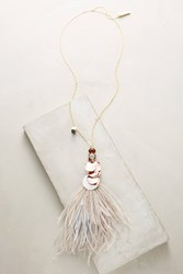 Anthropologie Heari Feather Pendant Necklace White