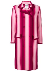 Moschino Striped Double Breasted Coat Pink And Purple
