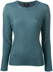 A.P.C. Fitted Crewneck Sweater Blue