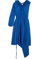 Vetements Asymmetric Ruffled Stretch Satin Dress Royal Blue