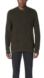 The Kooples Zip Shoulder Crew Sweater Kaki