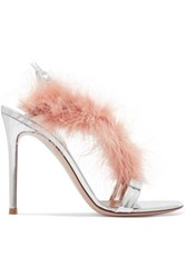 Gianvito Rossi 105 Feather Trimmed Mirrored Leather Slingback Sandals Baby Pink