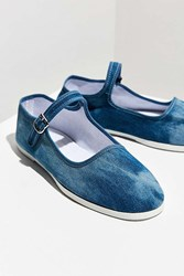 Urban Outfitters Washed Denim Mary Jane Flat Light Blue