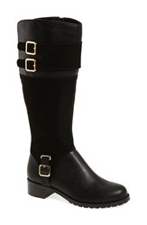 Bella Vita Women's 'Adriann Ii' Riding Boot Black Faux Leather Suede