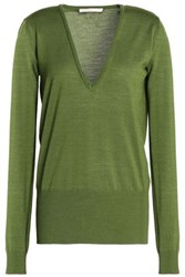 Antonio Berardi Merino Wool And Silk Blend Sweater Leaf Green