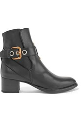 Chloe Buckled Leather Ankle Boots Black