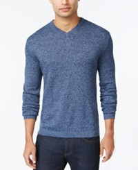 Weatherproof Vintage Solid V Neck Cashmere Blend Sweater Smalt Blue Marl