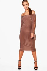 Boohoo Amie Off The Shoulder Open Shoulder Midi Dress Mocha
